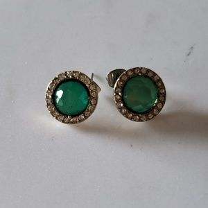 Emerald Green and Silver Stud Earrings